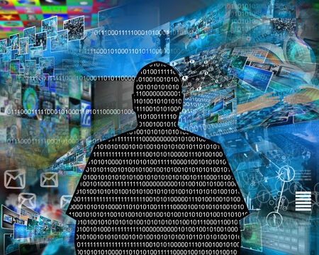 Abstract composition which depicts the silhouette of a man in the form of binary code. photo