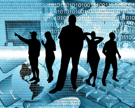 depicts: Abstract composition, which depicts silhouettes of people are in cyberspace. Stock Photo