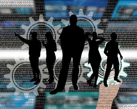 Abstract composition, which depicts silhouettes of people are in cyberspace. Stock Photo - 25661135