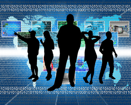 Abstract composition, which depicts silhouettes of people are in cyberspace. Stock Photo - 25656773