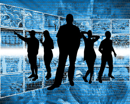 Abstract composition, which depicts silhouettes of people are in cyberspace. Stock Photo - 25661241