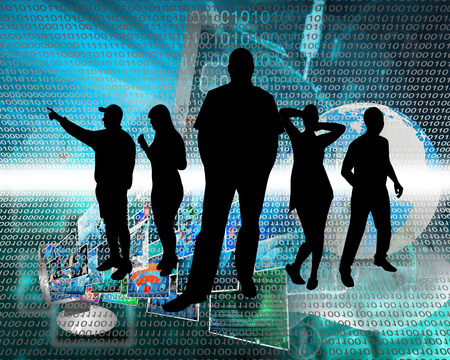 Abstract composition, which depicts silhouettes of people are in cyberspace. Stock Photo - 25661581