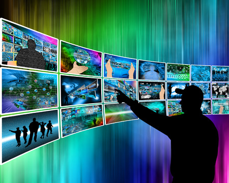 Internet and high technology surrounds mankind everywhere, and from all sides. Stock Photo - 25794321