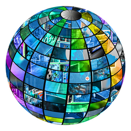 multiple images: Sphere consisting of a set of multiple images on the theme the Internet and high-tech.