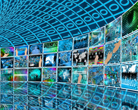 Internet and high technology surrounds mankind everywhere, and from all sides. Stock Photo - 26024745
