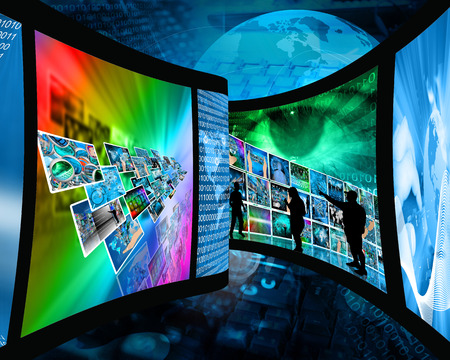 Abstract composition which shows a film strip with images on high technology. Stock Photo