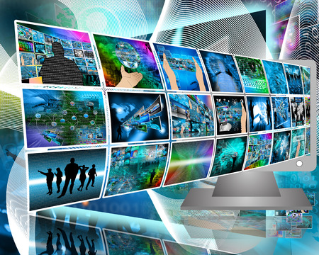Abstract composition which shows a variety of different images on the theme of computers and high technology. Stock Photo