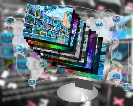 spread around: International Network of internet spread around the world on all continents.
