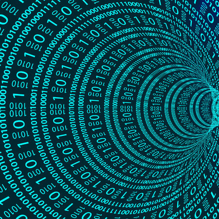 bytes: Abstract tunnel made up of binary code in cyberspace and the Web. Stock Photo