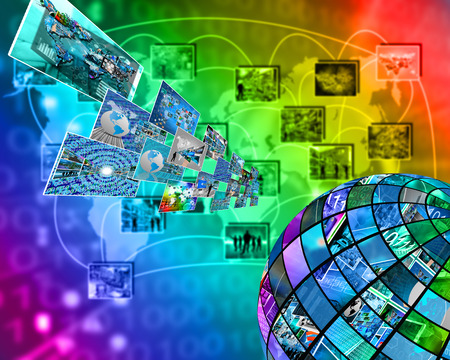 Abstract composition which shows a variety of different images on the theme of computers and high technology.