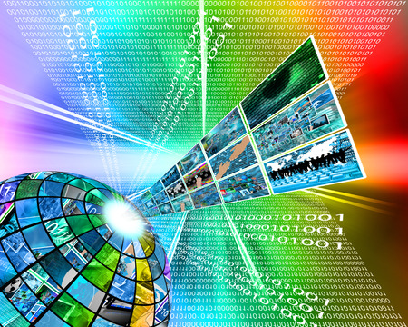 Abstract composition which shows the high technology in the form of spheres, binary code, and images. photo