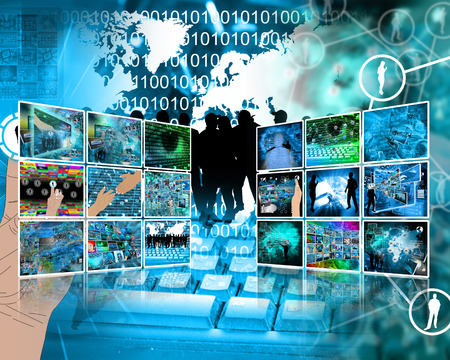 Two walls composed of different images on the theme of high technology. photo