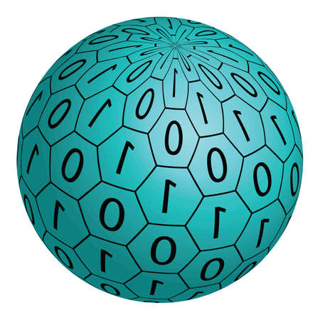 0 1 years: Abstract 3D sphere made ??up of binary code on a white background. Stock Photo