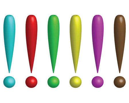 interjection: Six colored exclamation marks on a white background. Stock Photo