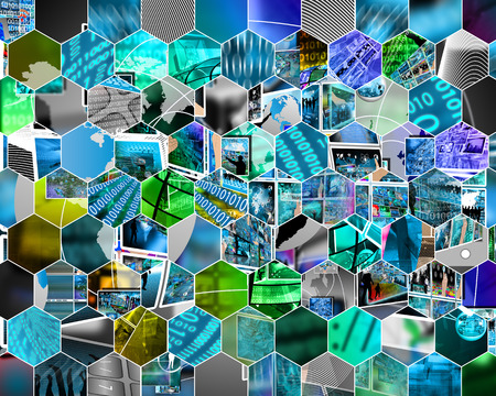 Abstract background in the form of a mosaic on the theme of high technology and the Internet. photo