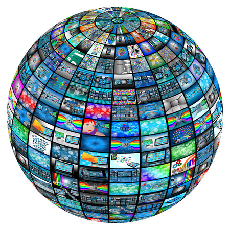 hdtv: 3D sphere made up of many different images on the theme of high technology. Stock Photo