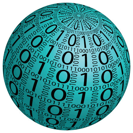 0 1 year: Abstract 3D sphere made ??up of binary code on a white background. Stock Photo
