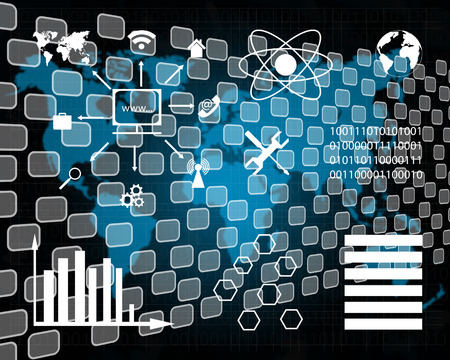 mankind: Internet and high technology surrounds mankind everywhere, and from all sides Stock Photo