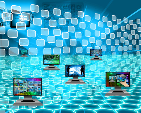 Six monitors with images on the theme of the Internet and high-tech. photo