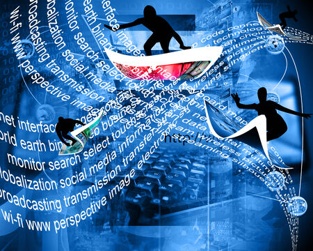 People ride on the waves of the Internet in cyberspace.
