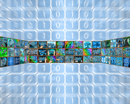 plurality: Abstract tunnel consisting of a plurality of images on the theme of high technology and the Internet.