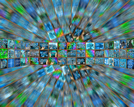 Abstract tunnel consisting of a plurality of images on the theme of high technology and the Internet. photo