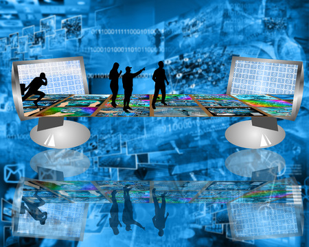 Internet forms a virtual bridge by which people can communicate with each other. photo