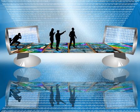 Internet forma un puente virtual mediante el cual las personas pueden comunicarse entre sí. Foto de archivo - 28813600
