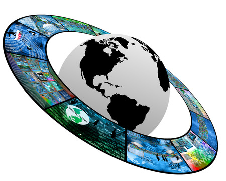Internet distributed throughout the planet Earth, everywhere, everywhere, even in space. photo