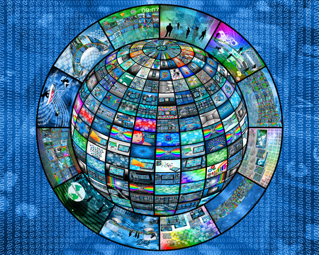 3D sphere made up of many different images on the theme of high technology. photo