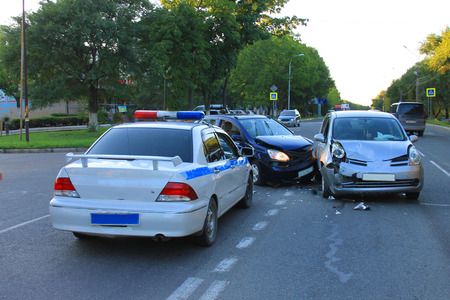 involving: Traffic accident involving two vehicles on the road.