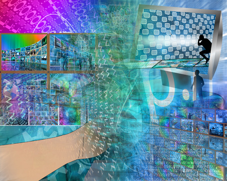 user friendly: Abstract image on computers, the Internet, communications and high technology. Stock Photo