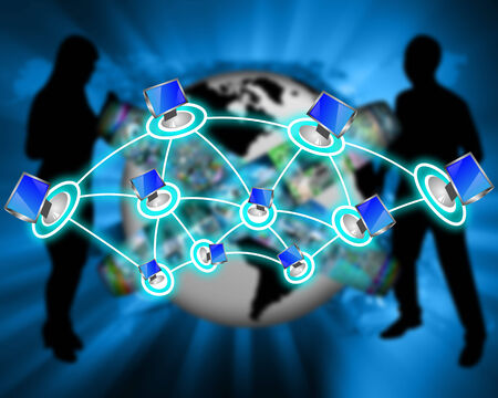 Interface representing the contact and communication between people around the world through an international network of Internet. photo