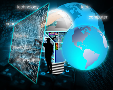 Abstract image on computers, the Internet, communications and high technology. photo
