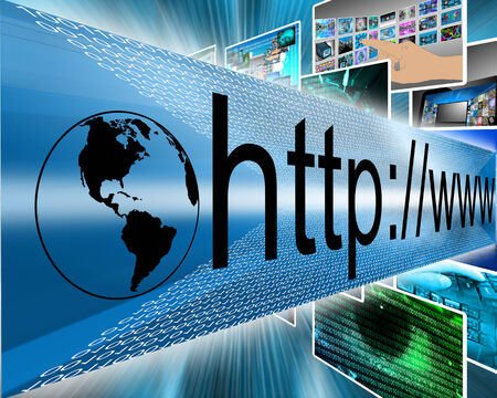 screen type: Abstract image on computers, the Internet, communications and high technology. Stock Photo