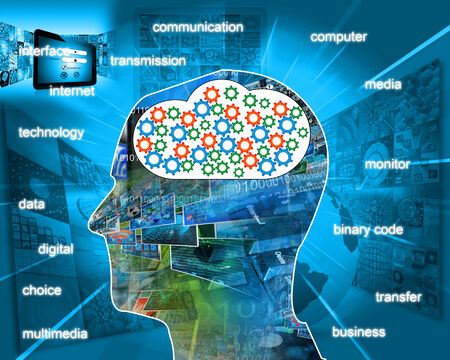 A man collects a variety of information in his head, which is obtained from the Internet. photo