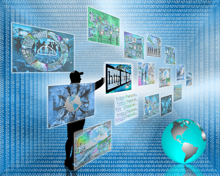 Abstract image on computers, the Internet, communications and high technology. Standard-Bild