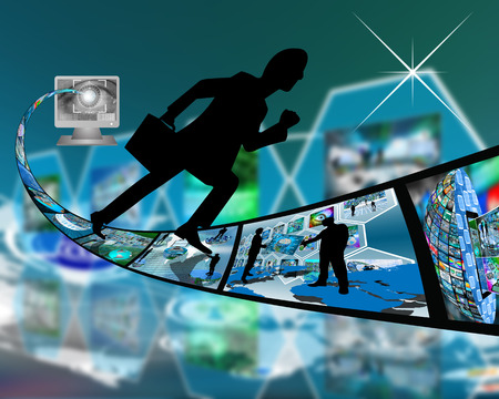 transference: Abstract image on computers, the Internet, communications and high technology. Stock Photo