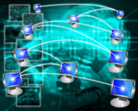 international network: Interface representing the contact and communication between people around the world through an international network of Internet. Stock Photo