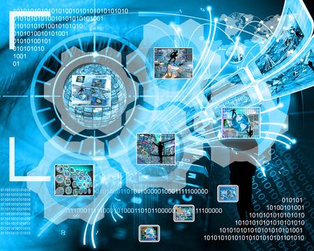 Muchas imágenes abstractas sobre el tema de las computadoras, Internet y alta tecnología. Foto de archivo - 34540513
