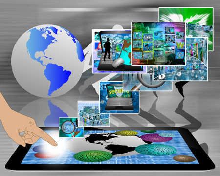 Many abstract images on the theme of computers, Internet and high technology. photo