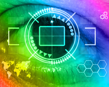 Abstract background in the form of a binary code of the human eye and the keyboard design for various necessities. photo