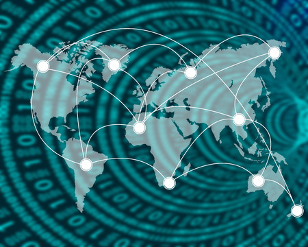 international network: International Network of internet spread around the world on all continents.