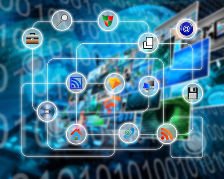 media icons: Many abstract images on the theme of computers, Internet and high technology.