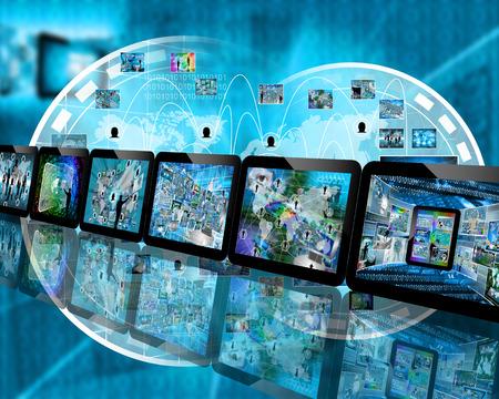 Muchas imágenes abstractas sobre el tema de las computadoras, Internet y alta tecnología. Foto de archivo - 35560075