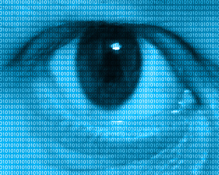 personal data privacy issues: Abstract background consisting of binary code and the human eye.
