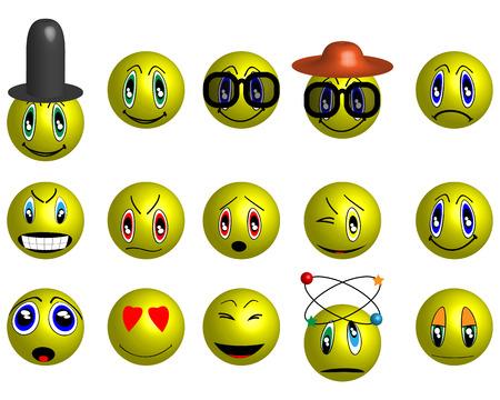 fifteen: Set of fifteen beautiful cute yellow smiley icons.