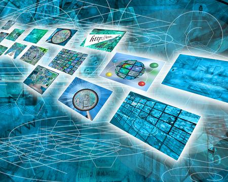 Muchas imágenes abstractas sobre el tema de las computadoras, Internet y alta tecnología. Foto de archivo - 42664775