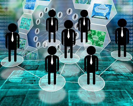 medium group of people: Many abstract images on the theme of computers, Internet and high technology.