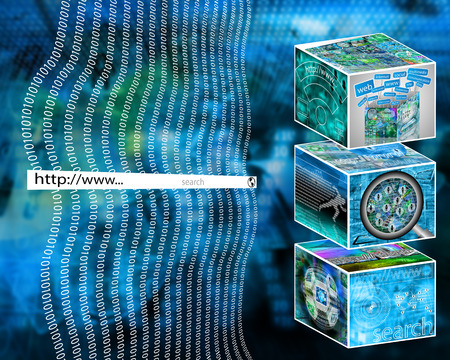 web host: Many abstract images on the theme of computers, Internet and high technology.